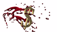 3d red-scarlet blood splash rotate around the symbol of  golden dollar Stock Footage