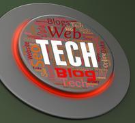 Tech Button Representing Hi-Tech Technologies And Control - stock illustration