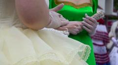 Women gloves mesh - stock footage