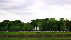 A Large Fountain In The Park Stock Footage