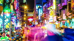 View of the busy night life in Hi Chi Minh City - stock footage