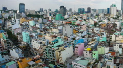 Horizontal panning view of the roofs over Ho Chi Minh City Stock Footage