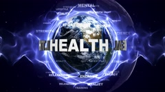 HEALTH Text Animation and Earth, Loop, 4k Stock Footage