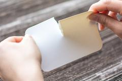 Woman tearing the white paper Stock Photos