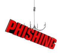 Phishing word at the end of fishing hook. 3D illustration Stock Illustration