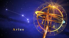 Armillary Sphere And Constellation Aries Over Blue Background - stock illustration