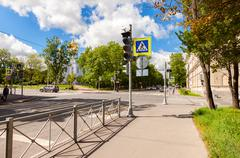 Pedestrian crossing with white marking lines on asphalt Stock Photos