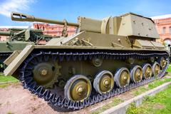 Soviet self-propelled artillery installation of the Su-76 Stock Photos