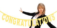 blond woman applauds her student graduation - stock illustration