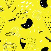 Simple seamless doodle pattern in kitsch, primitivism, minimal s Stock Illustration