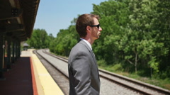 Young Business Man Looking Towards the Future of Success Slow Motion - stock footage