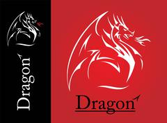 White Dragon, Dragon line art, spreading its wing. White Dragon with the flam Stock Illustration