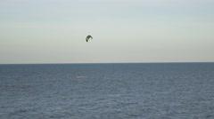 Kitesurfer kitesurf kitesurfing calm sea summer holidays extreme sport 4k Stock Footage