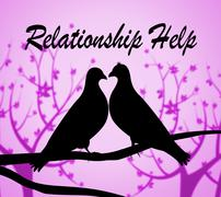 Relationship Help Indicating Find Love And Friendship - stock illustration