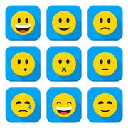 Yellow Smiley Faces Squared App Icon Set - stock illustration