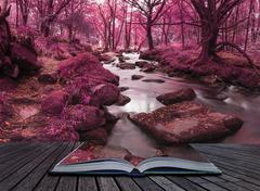 Beautiful landscape of surreal alternate colored landscape through woodlands - stock photo