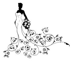 Abstract Pattern Wedding Bride Silhouette Stock Illustration