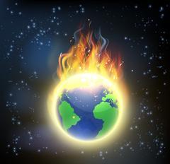 Earth World Globe on Fire - stock illustration