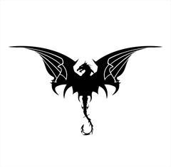 Black Dragon, Dragon, spreading its wing. Elegant Black Dragon with the bendi Stock Illustration