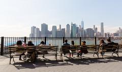 Manhattan skyline from Brooklyn Heights Promenade - stock photo