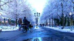 View of the historic downtown of Kecskemet in winter Stock Footage
