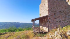 Aerial shot of old fortress Koznik Stock Footage