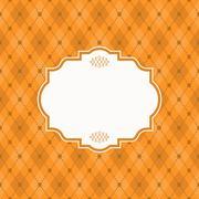 Blank vintage frame and divider on orange Argyle background, vintage style Stock Illustration