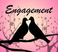 Engagement Doves Representing Love Birds And Relationships Piirros