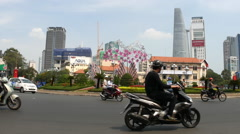 Busy traffic on streets of Ho Chi Minh City Stock Footage