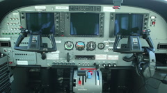 The dashboard, cockpit of the airplane Cessna 208B Grand Caravan, Czech Republic Stock Footage