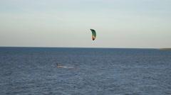 kitesurfer kitesurf kitesurfing calm sea summer holidays extreme sport 4k - stock footage
