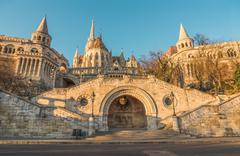 Fisherman's Bastion in Budapest, Hungary at Sunrise - stock photo