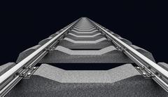 Illustration of a straight railroad track on dark - stock illustration