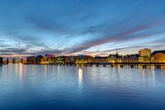 The river Spree in Berlin at dawn Stock Photos