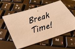 Break time concept on keyboard background Stock Photos