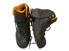 Black work boots Stock Photos