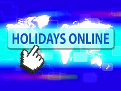 Holidays Online Indicating Web Site And Vacationing - stock illustration