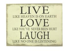 Plate with inscription Live,  Love, Laugh. Stock Photos