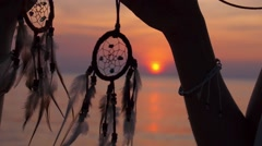 Hippie Friends with Dreamcatchers at Sunset Beach by Sea Stock Footage