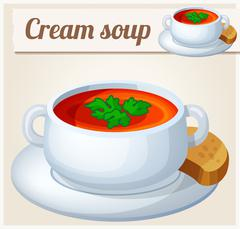 Cream soup. Detailed Vector Icon Stock Illustration