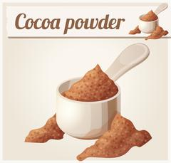 Cocoa powder. Detailed Vector Icon Stock Illustration
