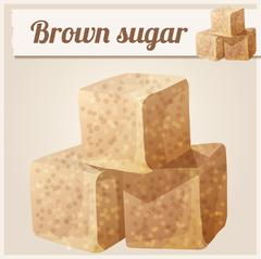 Brown sugar. Detailed Vector Icon Stock Illustration