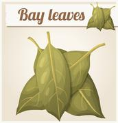 Bay leaves. Detailed Vector Icon - stock illustration