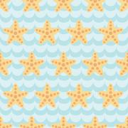 Seamless pattern with cute cartoon starfishes on blue wave background - stock illustration