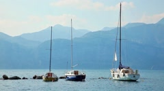 Yachts on the lake - stock footage