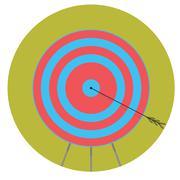 Right in bullseye. Arrow target icon flat - stock illustration