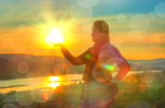 Abstract Blurred and soft photo of Women on hilltop Stock Photos