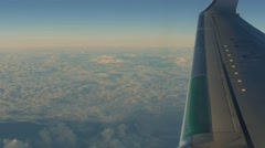 4k aerial background. Traveling by air above beautiful sunset clouds. Stock Footage