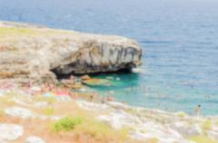 Defocused background with beautiful seascape in Salento, Apulia, Italy Stock Photos