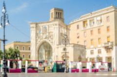 Defocused background of Sant'Oronzo square in Lecce, Salento, Italy - stock photo